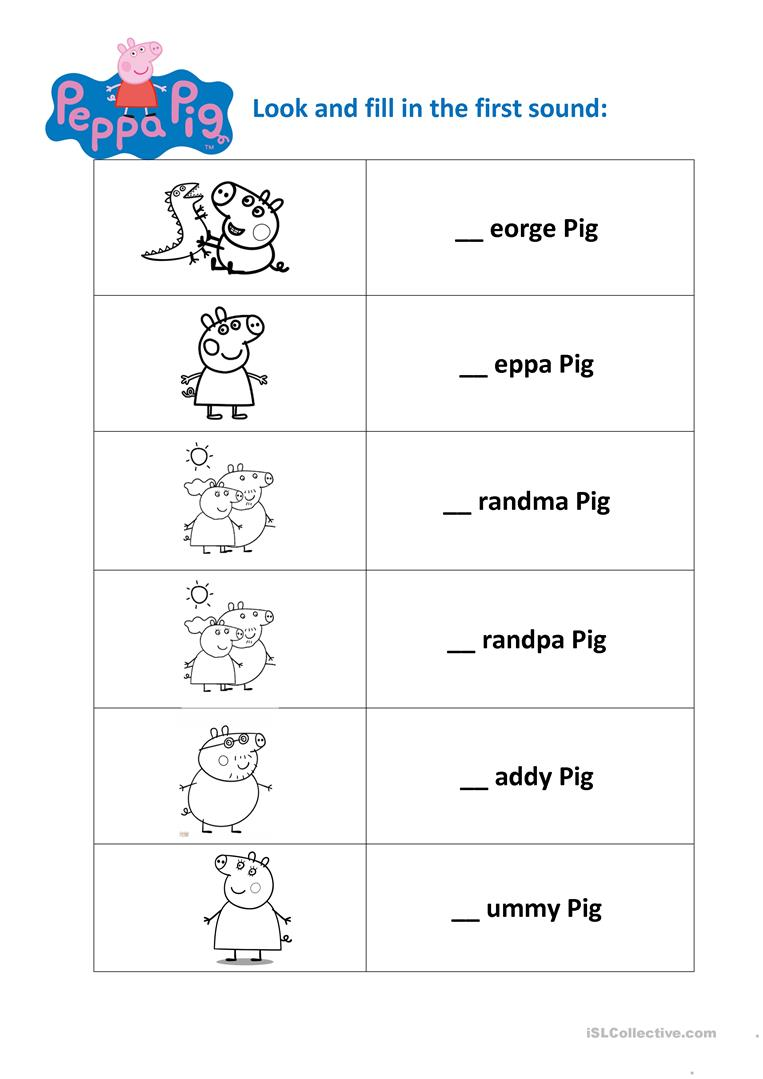 peppa pig family pre school worksheet free esl printable worksheets made by teachers. Black Bedroom Furniture Sets. Home Design Ideas