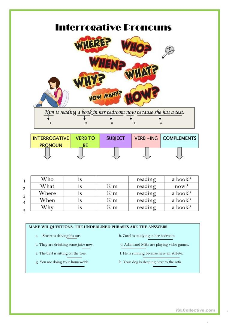 PRESENT CONTINUOUS - WH-QUESTIONS worksheet - Free ESL printable