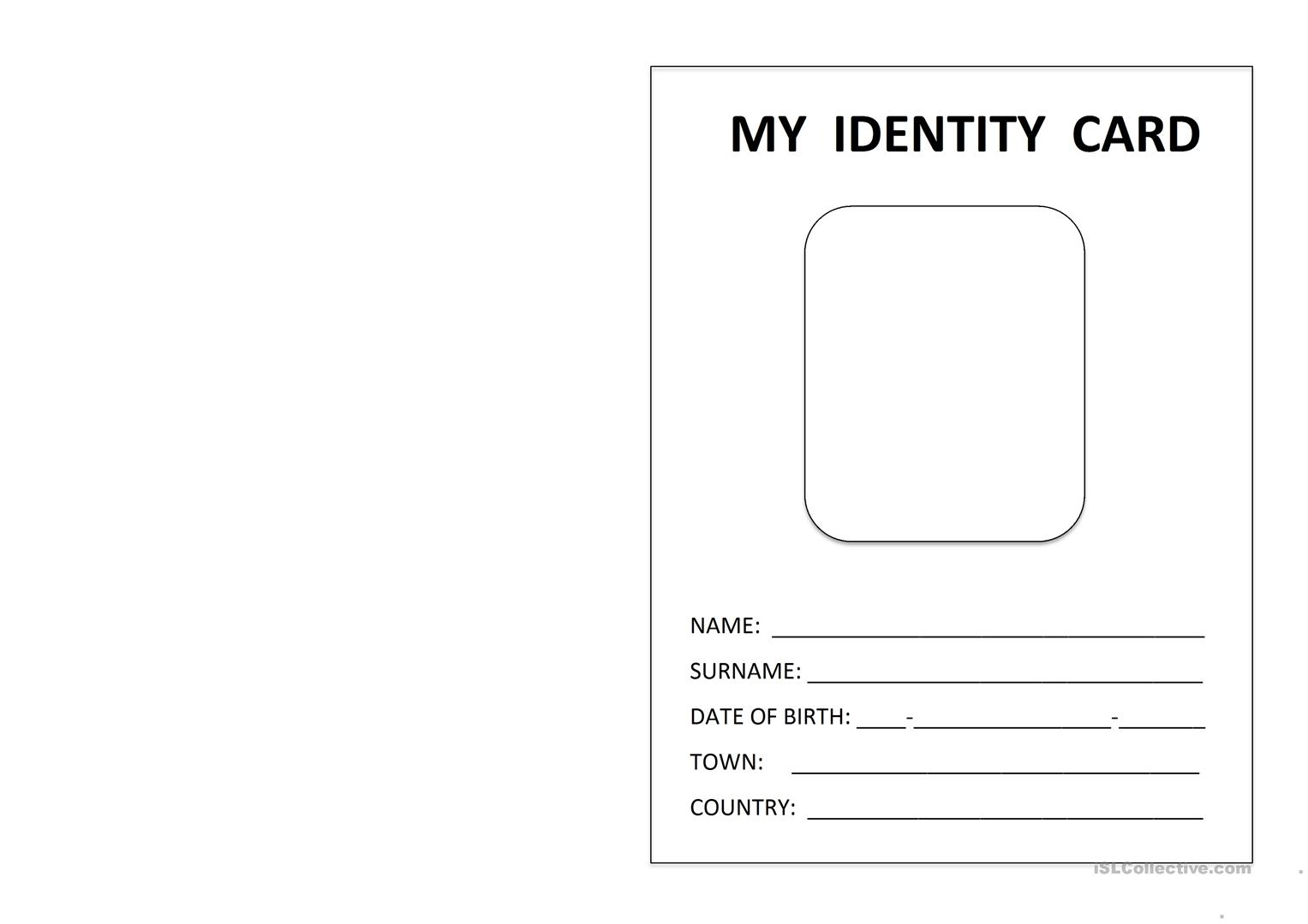 photograph about Printable Id Cards identified as printable identity card - English ESL Worksheets
