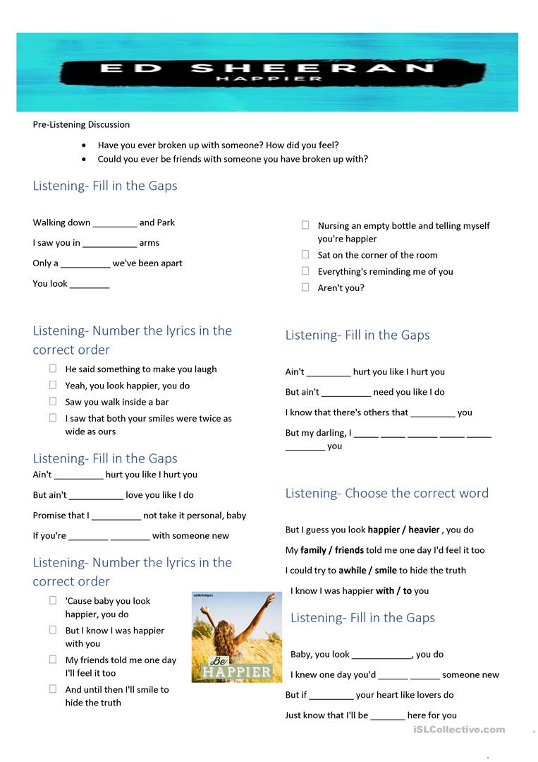 Song Happier By Ed Sheeran English Esl Worksheets For Distance