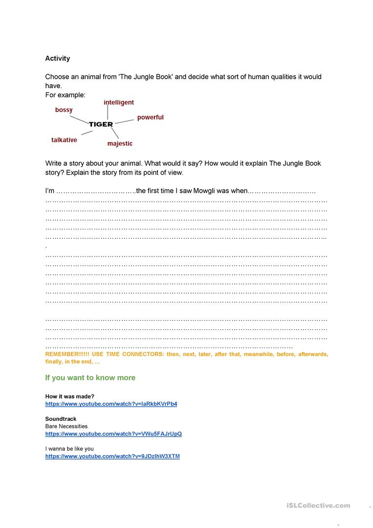 The Jungle Book Film Worksheet Personification Of Animals Worksheet