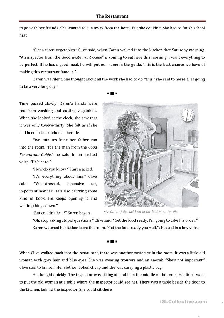THE RESTAURANT - SHORT STORY AND PRACTICE - English ESL