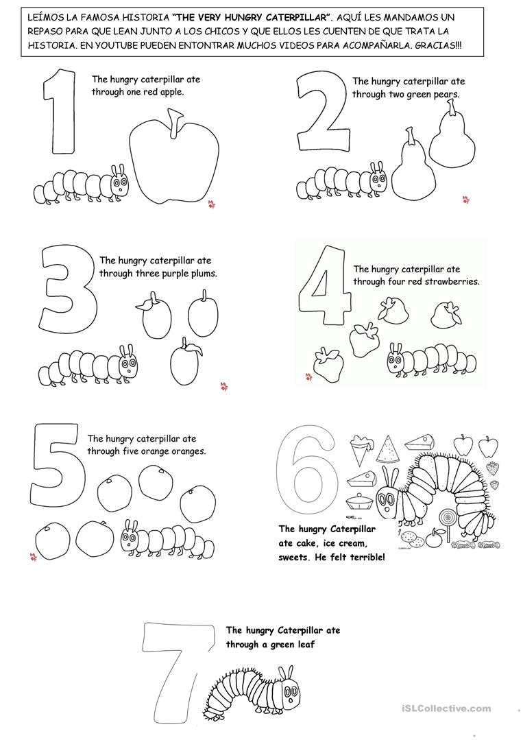 photograph about The Very Hungry Caterpillar Story Printable called The Exceptionally Hungry Caterpillar - English ESL Worksheets