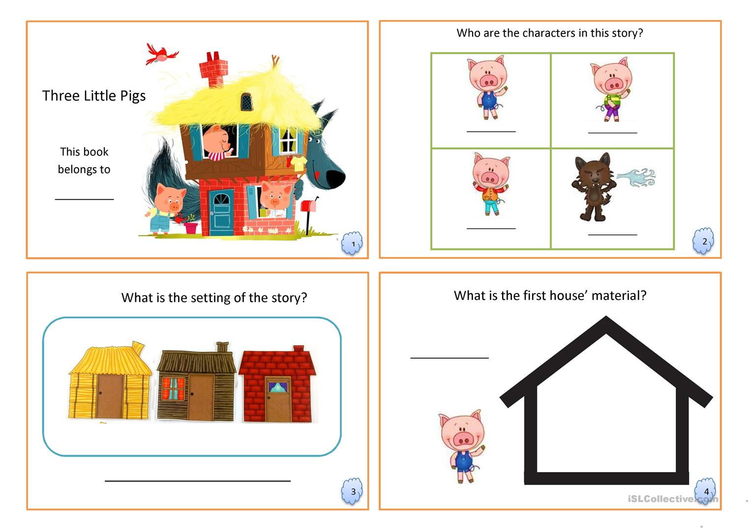 three little pigs book fairy tale english esl worksheets. Black Bedroom Furniture Sets. Home Design Ideas
