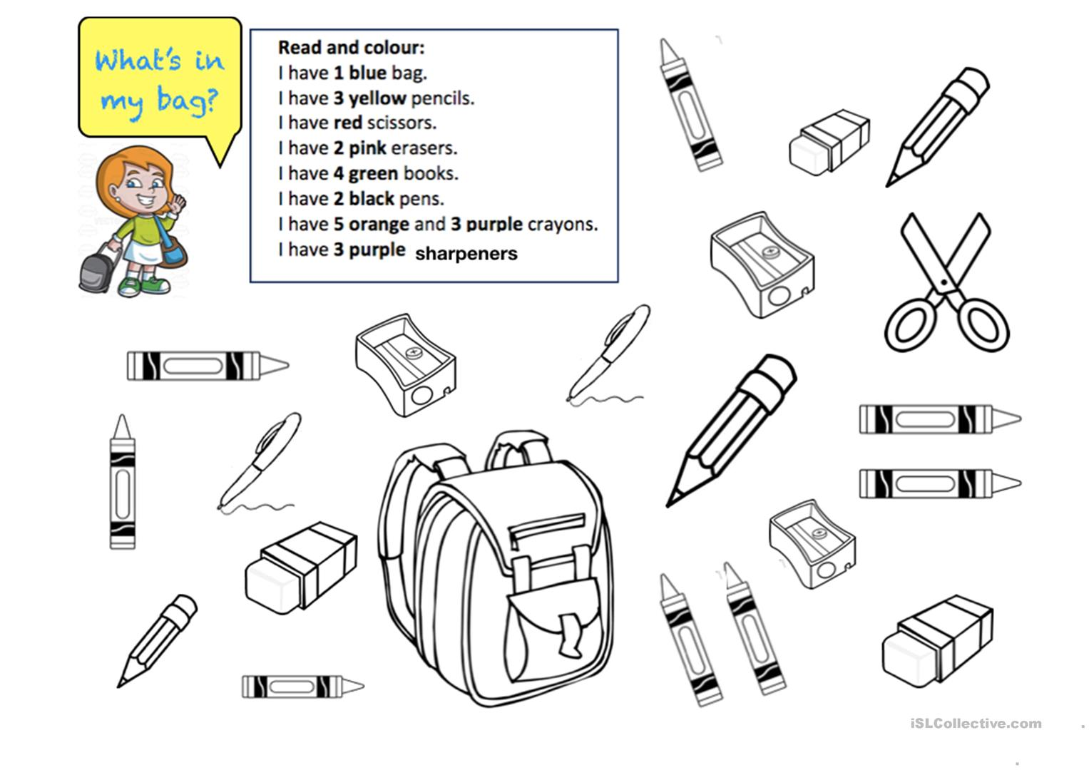 What's in my bag? ( I have+ school things) - English ESL ...