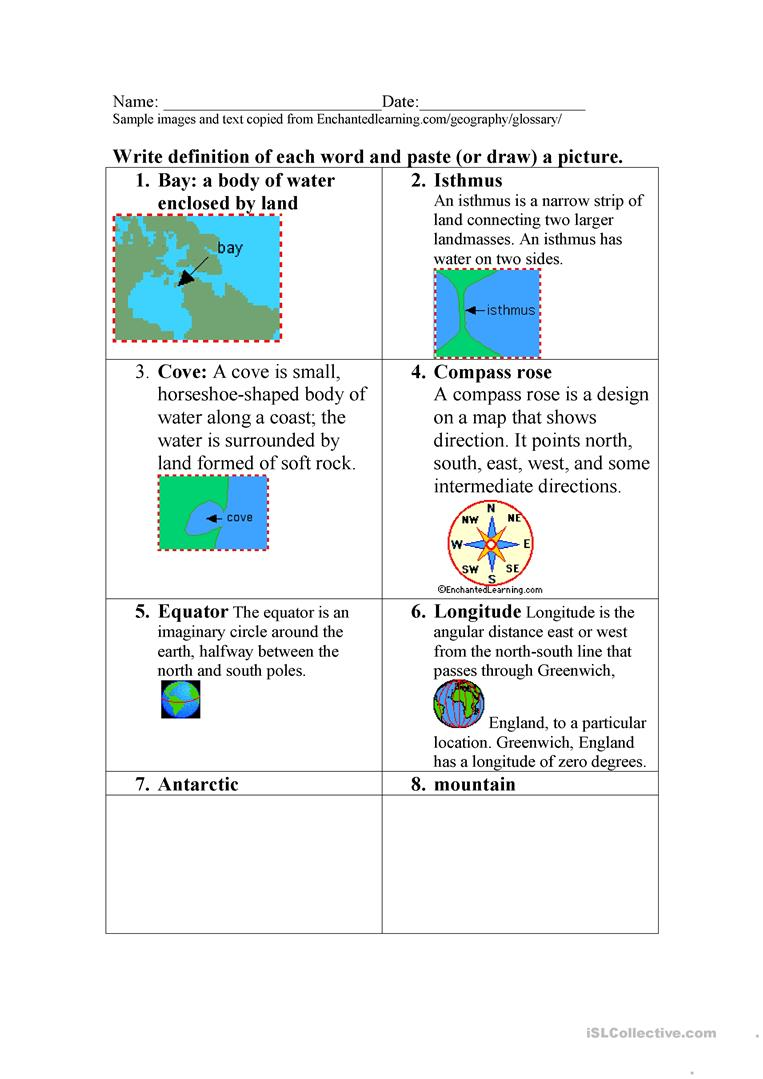 Worksheet: Define geography terms and draw or insert image - English ...
