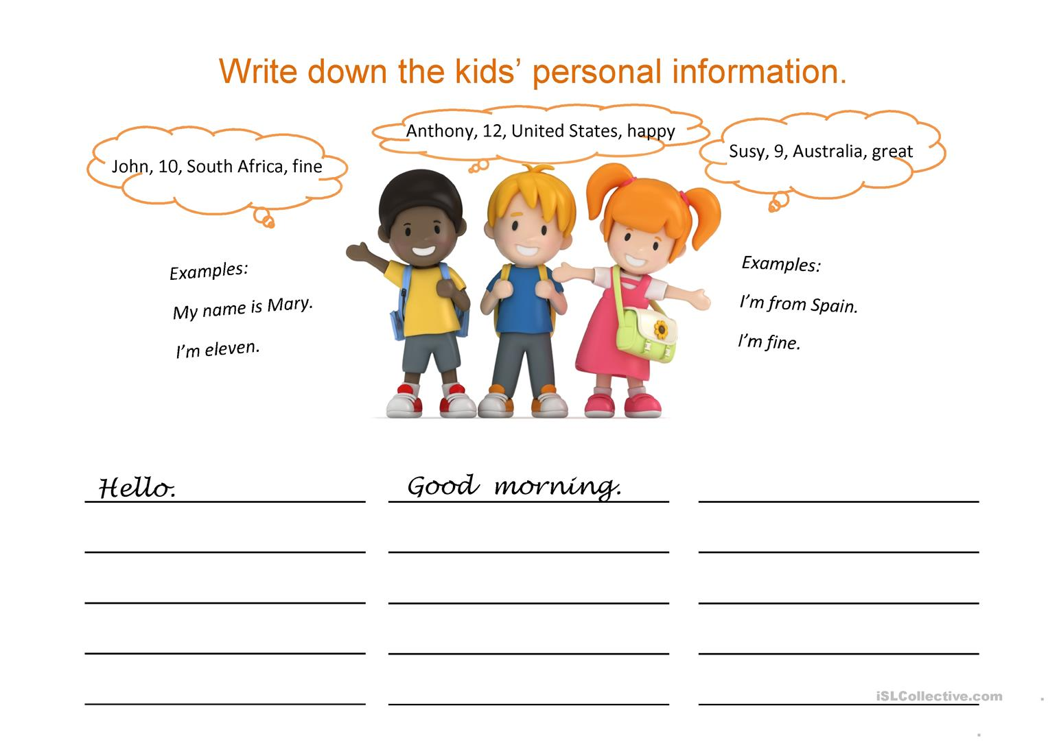 Writing personal information: Name, country, age worksheet - Free