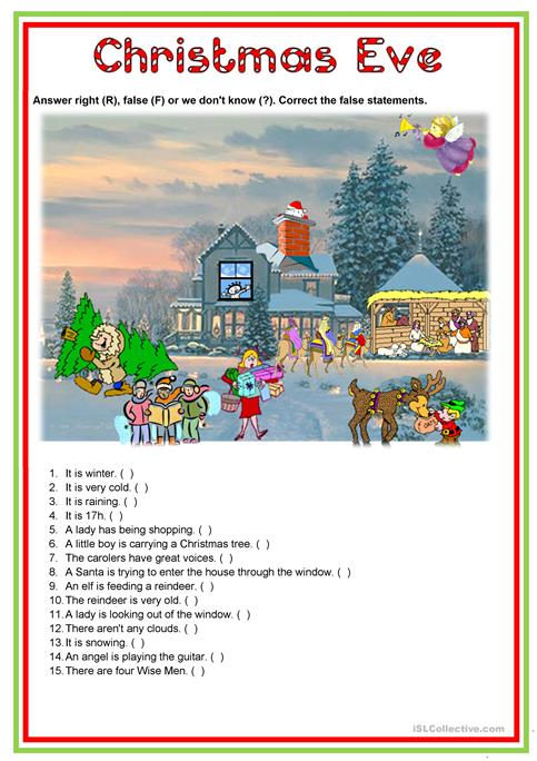 Christmas Eve worksheet - Free ESL printable worksheets made by teachers