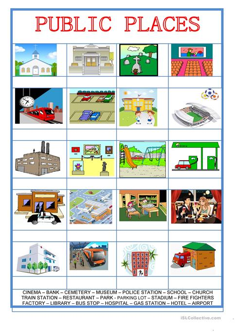 Picture Dictionary City Public Places Worksheet Free Esl
