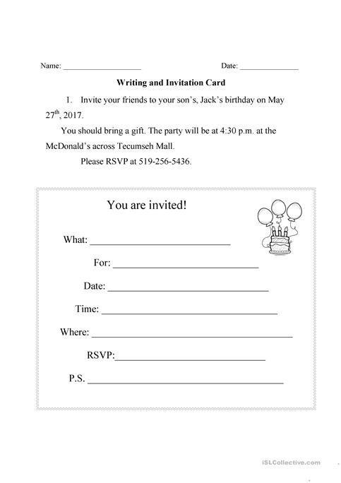 Writing an invitation card worksheet free esl printable writing an invitation card stopboris Image collections