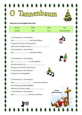 O Tannenbaum Lied.English Esl Worksheets Most Downloaded 71595 Results