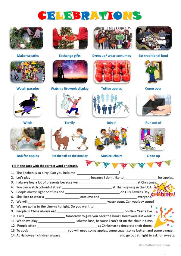 Celebrations vocabulary flashcards + exercise