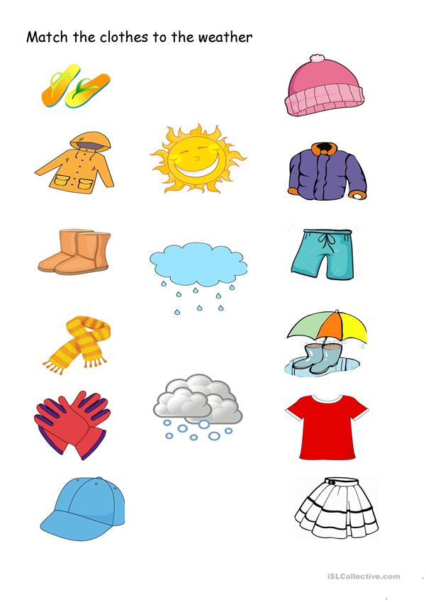 Match the clothes to the weather