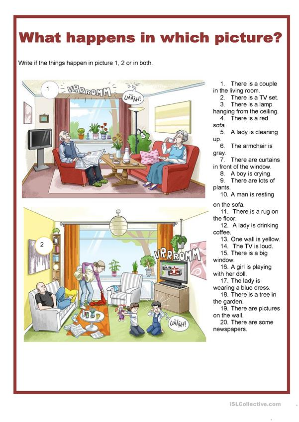 Picture description -What happens in which picture - living room