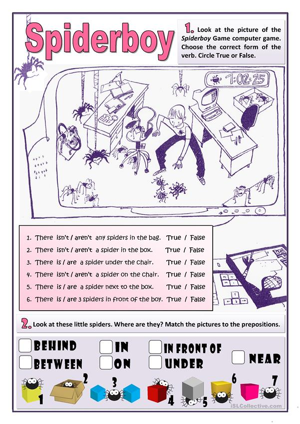 SPIDERBOY - THERE IS / ARE AND PREPOSITIONS OF PLACE