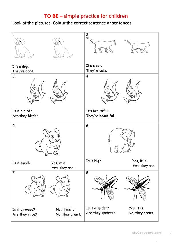 to be worksheet for beginners