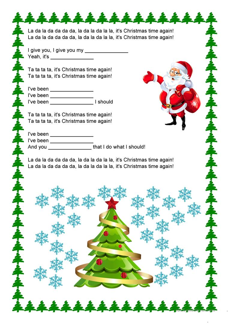 Backstreet Boys - It\'s Christmas Time Again worksheet - Free ESL ...