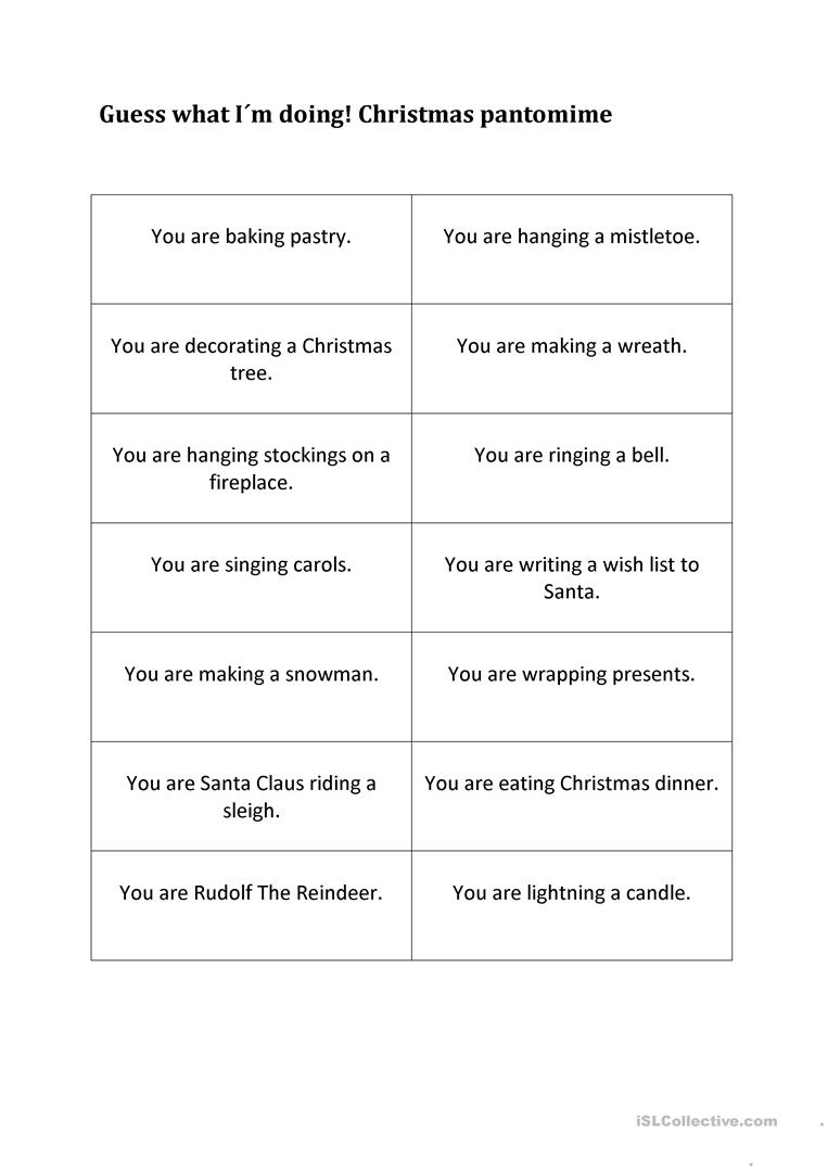 Guess What I Know: Guess What I Am Doing. Christmas Pantomime Worksheet