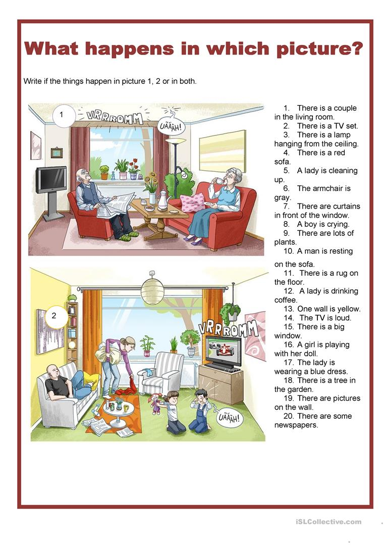 picture description what happens in which picture living room worksheet free esl printable. Black Bedroom Furniture Sets. Home Design Ideas