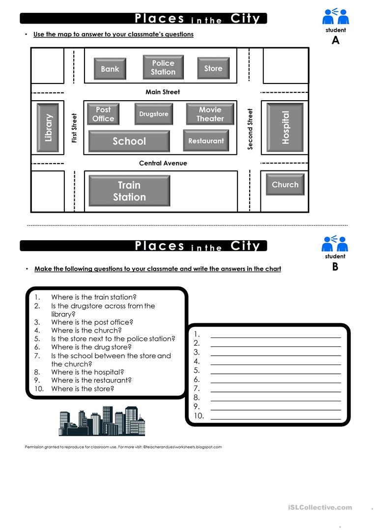 Prepositions of place map practice worksheet - Free ESL printable ...