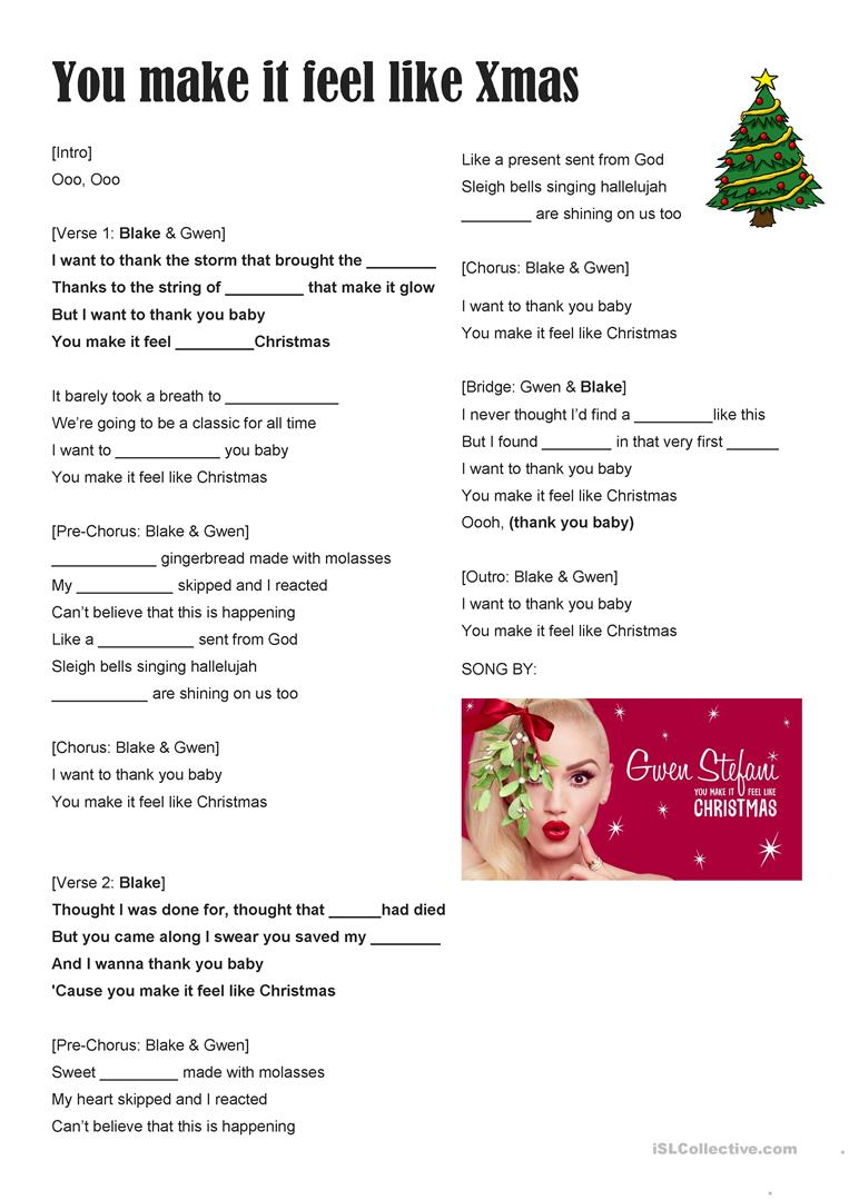 SONG FOR CHRISTMAS You make it feel like Xmas Gwen Stef worksheet ...