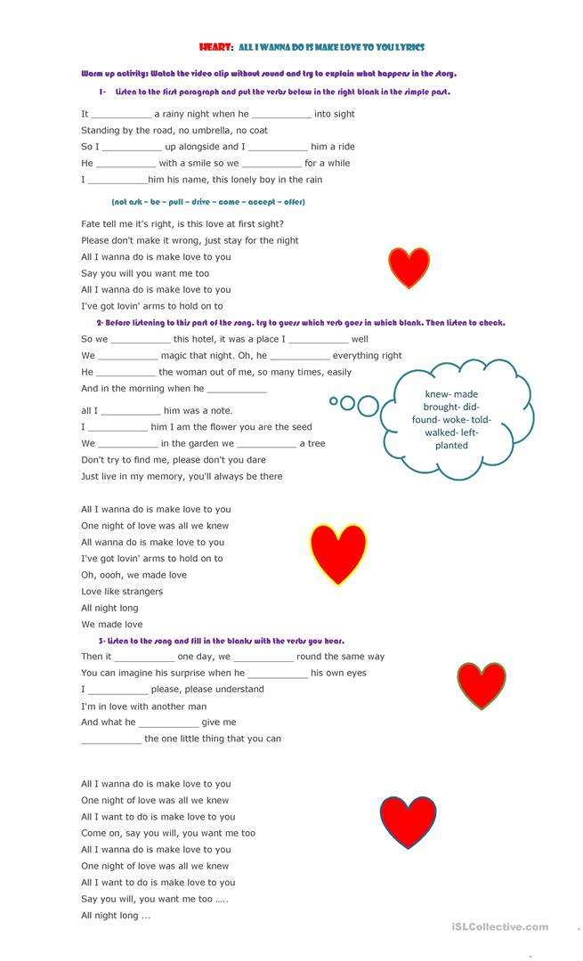 Song to practise the simple past - English ESL Worksheets