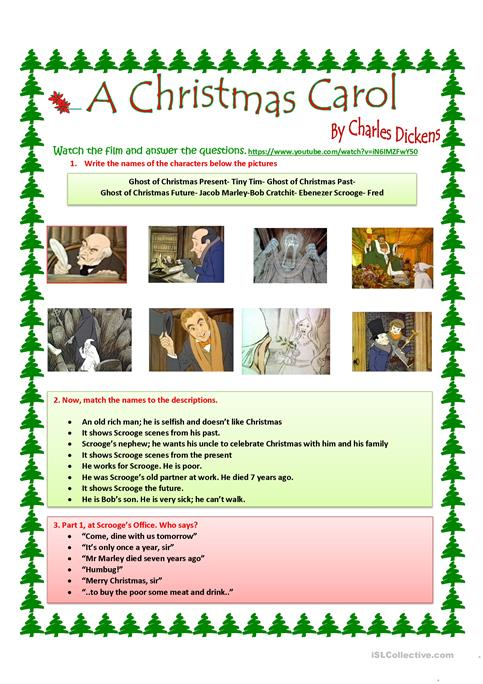 picture about A Christmas Carol Worksheets Printable known as A Xmas Carol worksheet - Totally free ESL printable worksheets