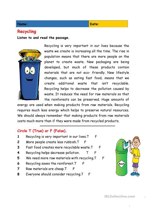 Reduce, Reuse, Recycle - Fun Earth Day Worksheet