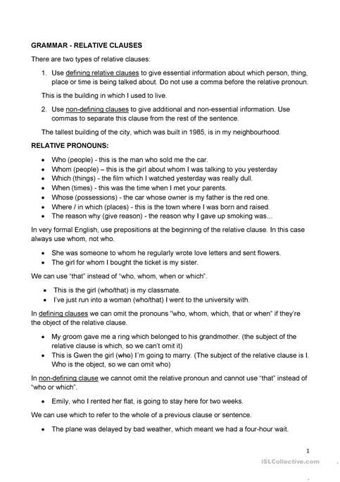 Relative Clauses worksheet - Free ESL printable worksheets made by ...