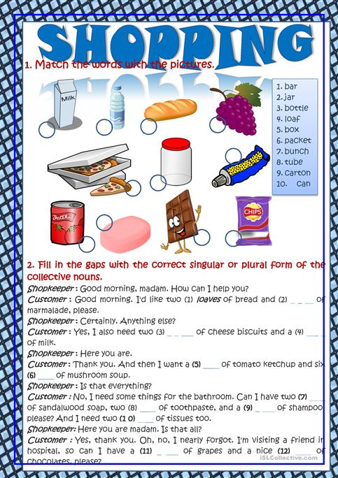 Shopping Vocabulary In Context Worksheet Free Esl Printable