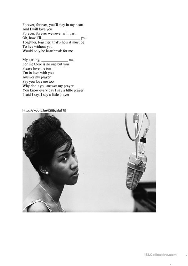 Aretha Franklin Fill in the gaps Lyrics