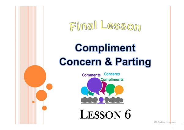 compliment,concern and parting