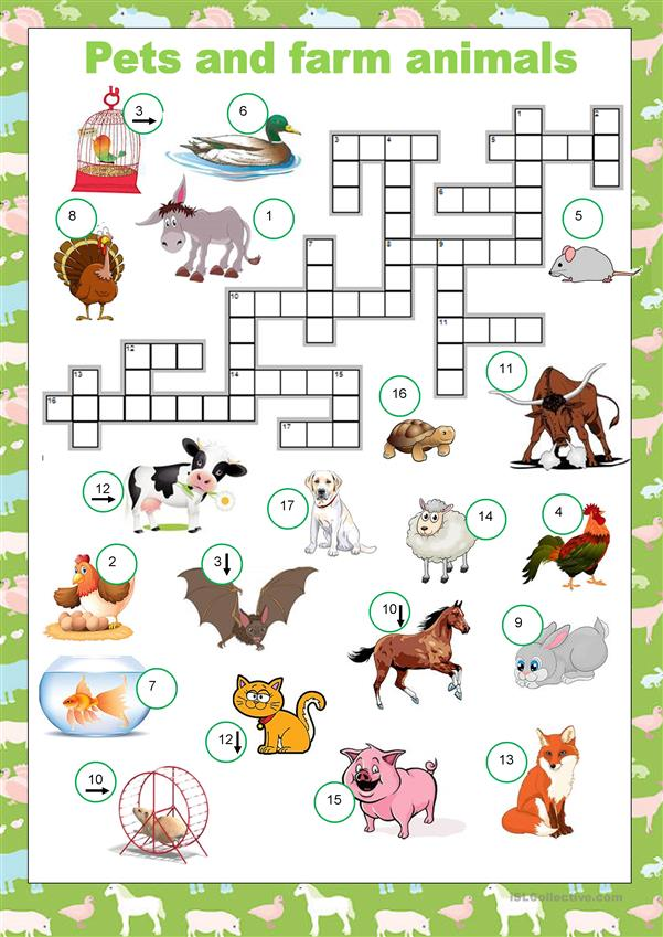Crosswords - Pets and farm animals