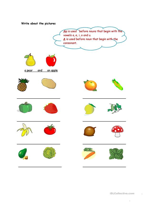 Fruit and vegetables-article an and a