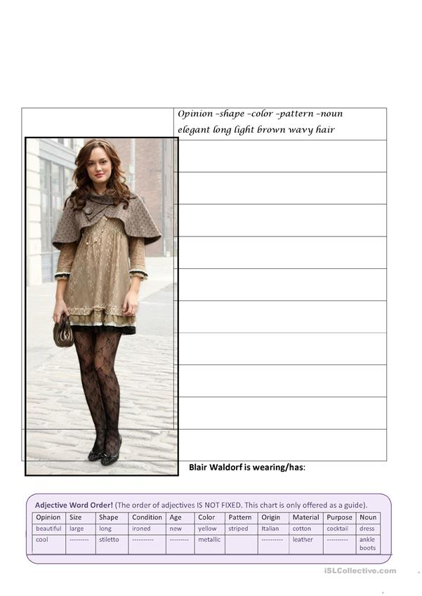 Gossip Girl Adjective Word Order (Fashion)