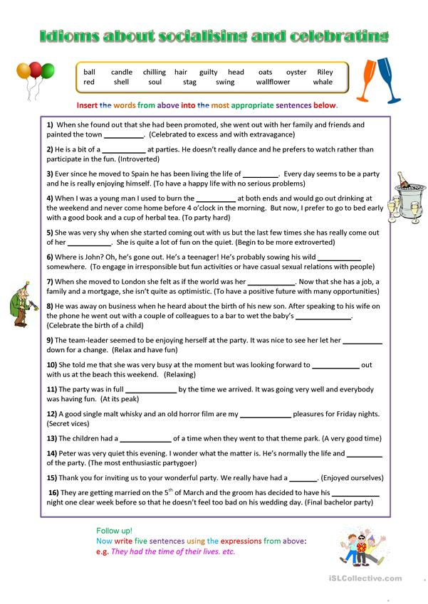 Idioms about celebrating and socialising