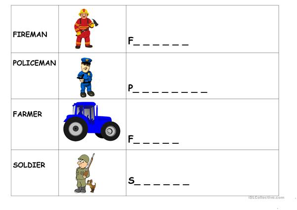 JOBS - COMPLETE WORDS AND DRAW PICTURES