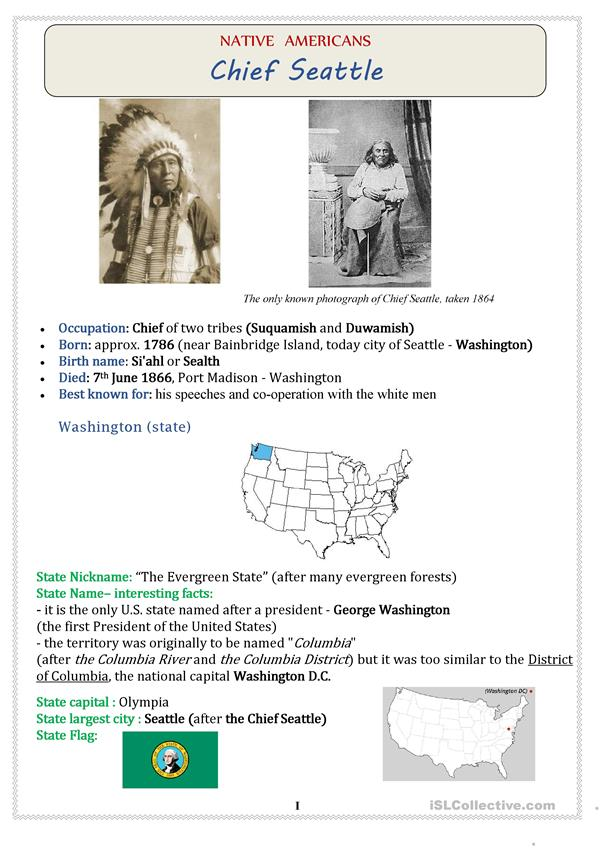 Native Americans (USA): Chief SEATTLE - 3 pages