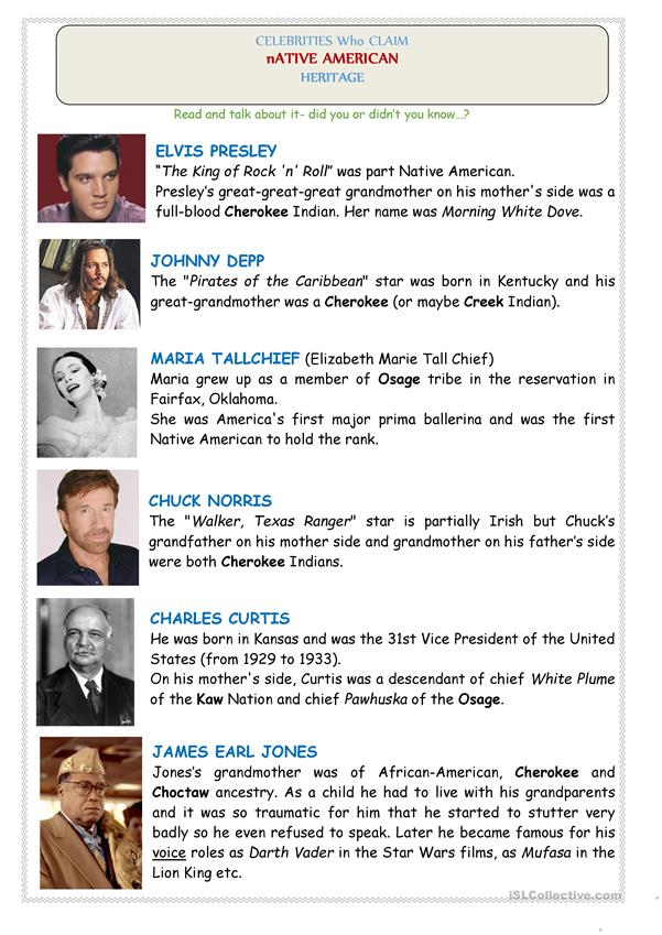 Native Americans (USA): CELEBRITIES - 2 pages (reading, Crossword puzzle+Key)