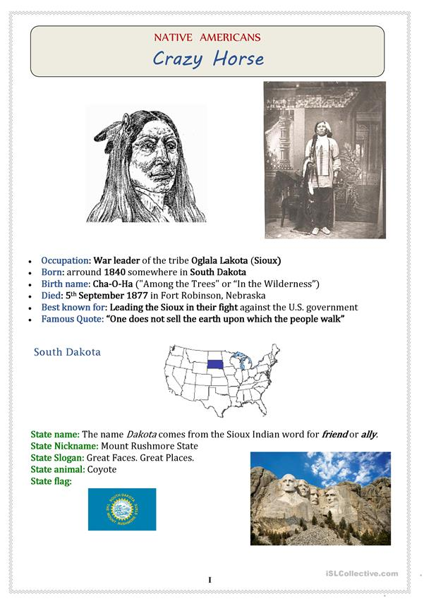 Native Americans (USA): Chief CRAZY HORSE - 3 pages