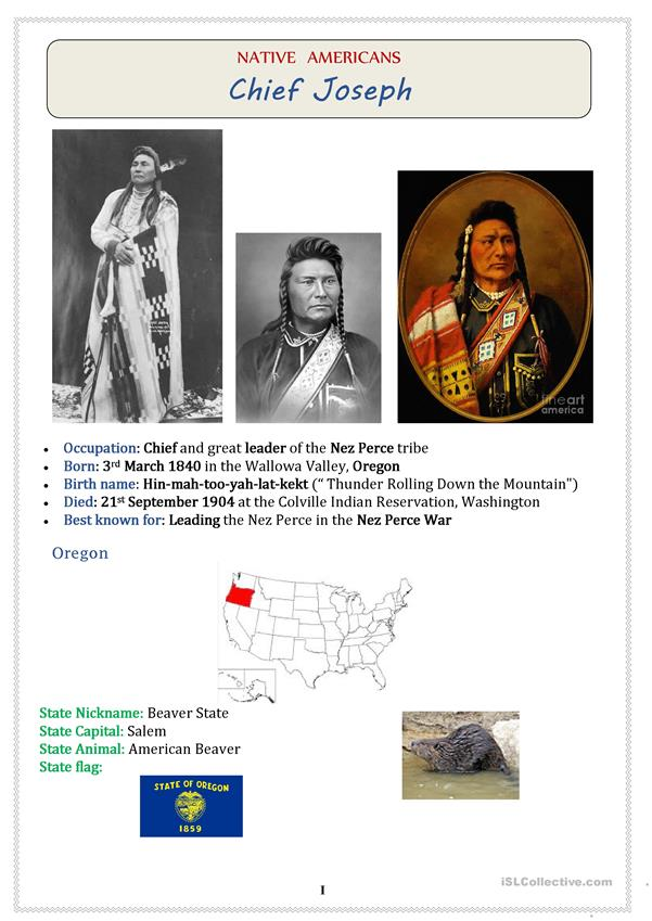 Native Americans (USA): Chief JOSEPH  - 3 pages
