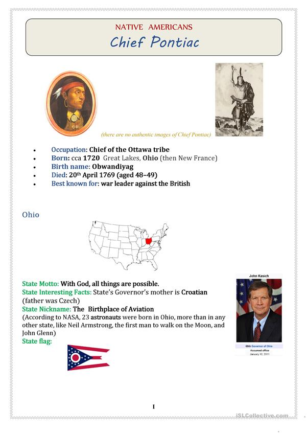 Native Americans (USA): Chief PONTIAC - 3 pages