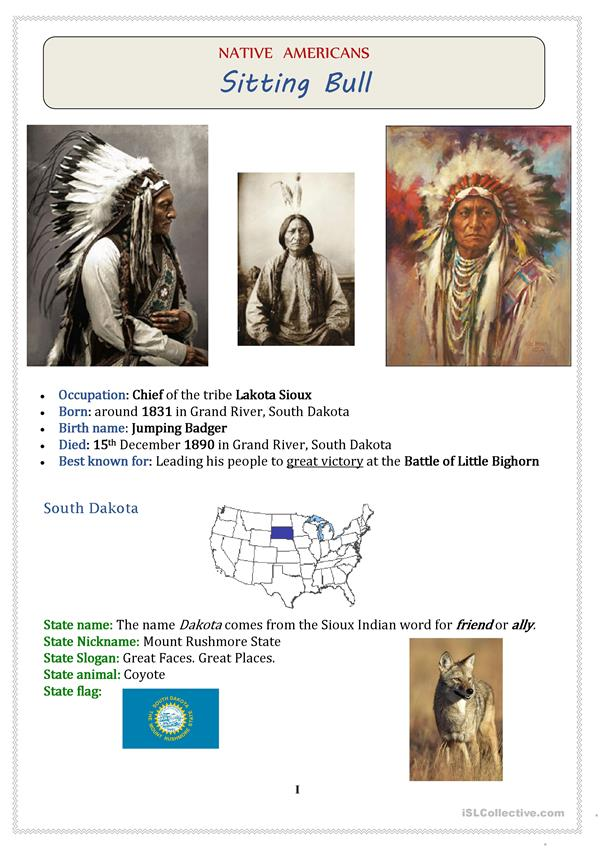 Native Americans (USA): Chief SITTING BULL - 3 pages