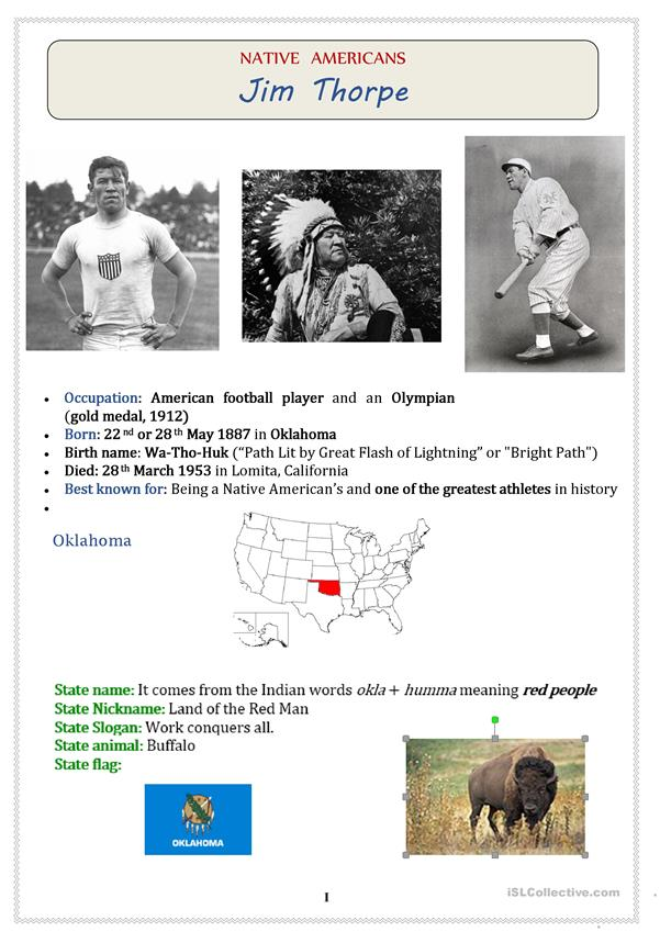 Native Americans (USA): Athlete; Olympic gold medalist JIM THORPE  - 3 pages