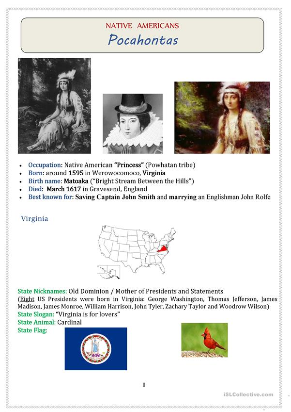 Native Americans (USA): POCAHONTAS  - 3 pages