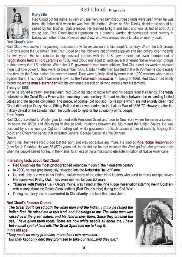 Native Americans (USA): RED CLOUD - 3 pages