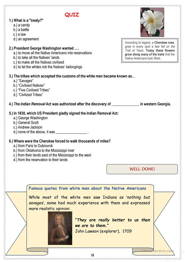 Native Americans (USA) - TRAIL OF TEARS + Quiz worksheet - Free ESL ...