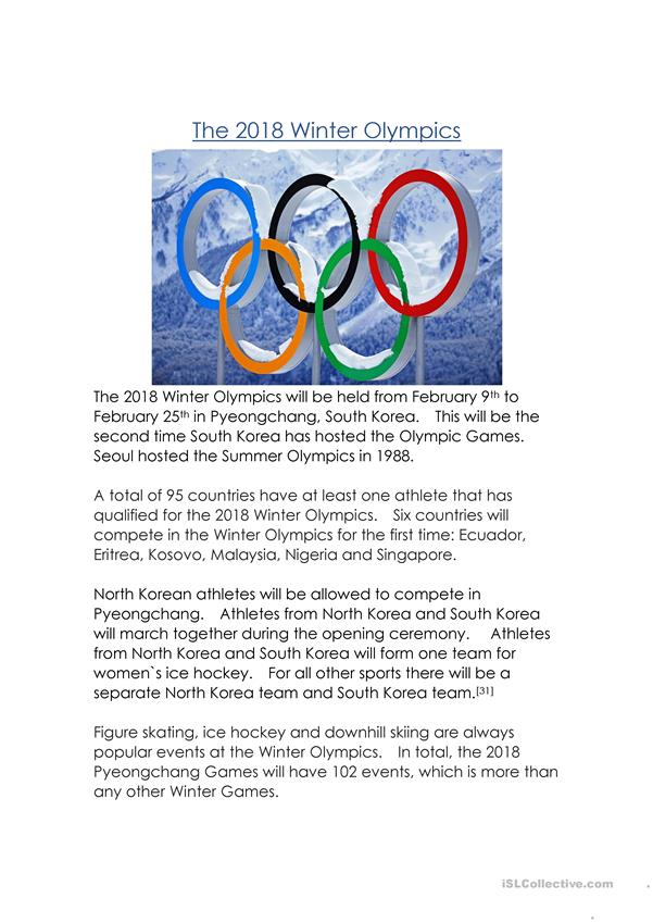 The 2018 Winter Olympics