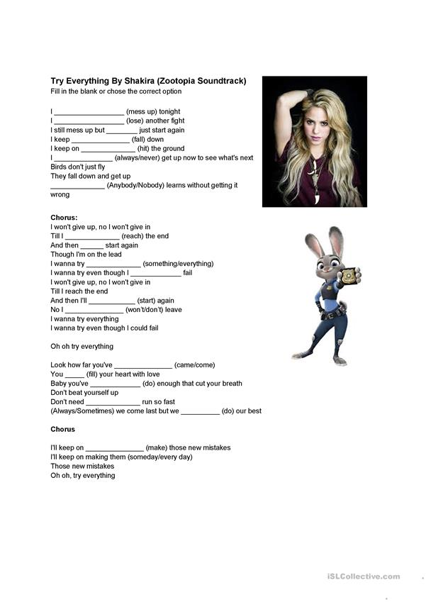 Try Everything by Shakira Lyrics Worksheet