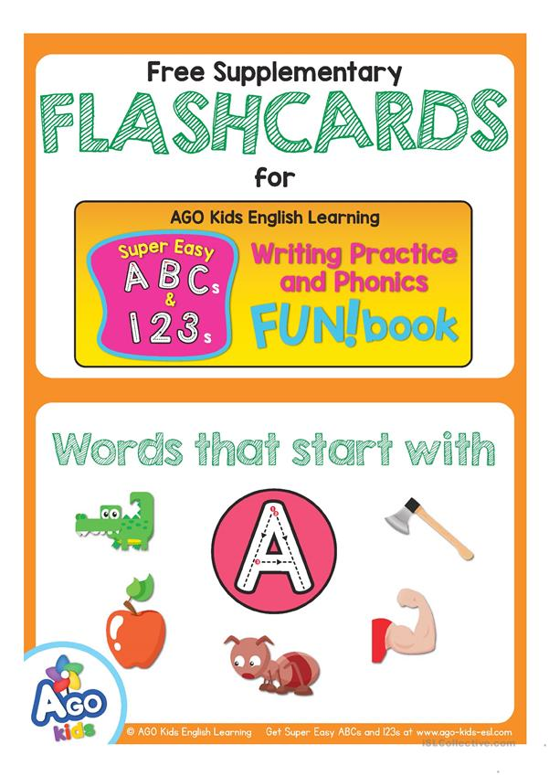 Words Starting With A - AGO Kids Super Easy ABCs and 123s Flashcards